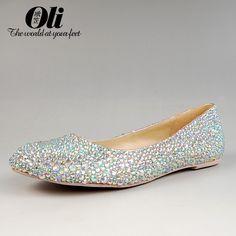 Comfortable Silver Wedding Shoes Flat with Rhinestones #weddingflats