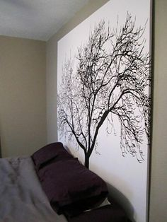 Staple a Shower Curtain , ( options are endless ) to a wooden frame OR foam insulation boards ( like from Home Depot ) for inexpensive large scale Artwork for a Wall or Headboard ! - LARGE photo