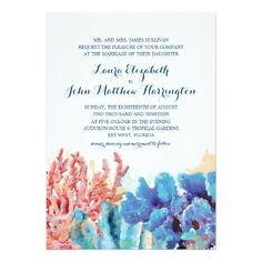 "Colorful Reefs Watercolor | Wedding.-**EXPLORE an Amazing Collection of  ""Theme Matching Wedding Invitation Sets"" GO TO... http://www.zazzle.com/weddinginvitationkit/"