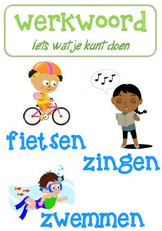 Poster taal: werkwoord © Sarah Verhoeven Learn Dutch, Dutch Language, School Posters, Fun Learning, Grammar, Spelling, Coaching, Homeschool, Classroom