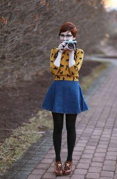 Jean skirt, printed top