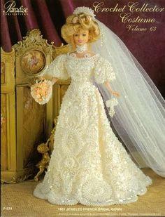 Barbie Crochê Miniaturas Artesanato e Coisas Mais de Tudo Um Pouco e Muito Mais: Vestido de Noiva de Crochê Para Barbie - Crochet Collector Costume Volume 63