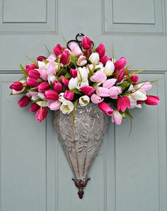Use fabric flowers to create this appealing spring decor for your door Gma C's door?