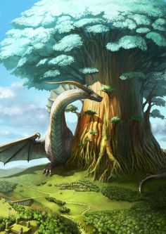 enormous dragon ...and tree