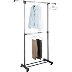 Whitmor Adjustable 2-Rod Garment Rack, Chrome/Black  Use this to display 31 products at home shows!