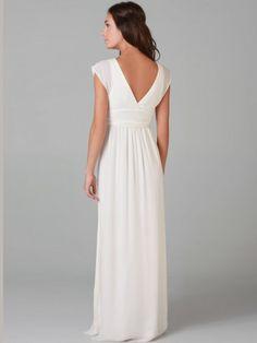 2012 Style A-line V-neck Ruffles Sleeveless Floor-length Chiffon White Evening Dress