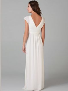 2012 Style A-line V-neck Ruffles Sleeveless Floor-length Chiffon White Evening Dress