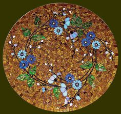 """""""Floral Wreath"""" Glass Mosaic Table Top"""
