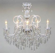 New Murano Venetian Style All Crystal Chandelier Lighting H25 x W24