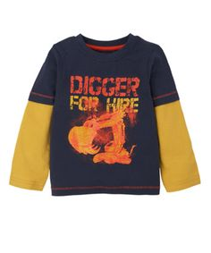 Mothercare Digger For Hire T-Shirt - tops & t-shirts - Mothercare