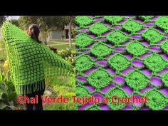 Chal Verde Tejido a Crochet en forma triangular paso a paso - YouTube