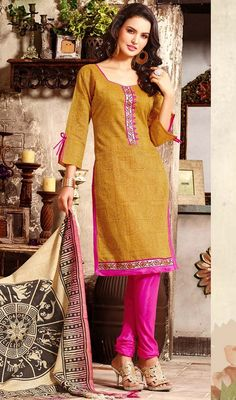 It's time for you to hypnotize and instill awe in everyone as you dress this honey color chanderi silk churidar kameez. The lace and block print work seems to be chic and best for any celebration. #silkdresses #silksalwarsuits #silksuitonline