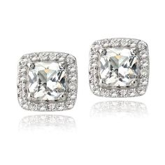 Sterling Silver 3.5ct Created White Sapphire Square Cushion-Cut Stud Earrings