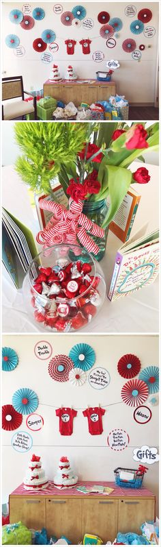 Dr. Suess Thing 1 Thing 2 themed Twins Baby Shower - Red and Aqua