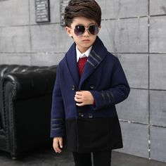 34.36$  Watch now - http://aipbu.worlditems.win/all/product.php?id=32782223352 - 2017 Top Long Solid Novelty Cotton Polyester Acetate Winter Kids Boys Jacket Woolen Coat For 4-14 years Children New Boy Wool