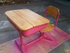 distracting debbie... vintage school desk refinish