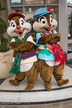 Chip and Dale in their winter best on Buena Vista Street. Photo by #JonFiedler