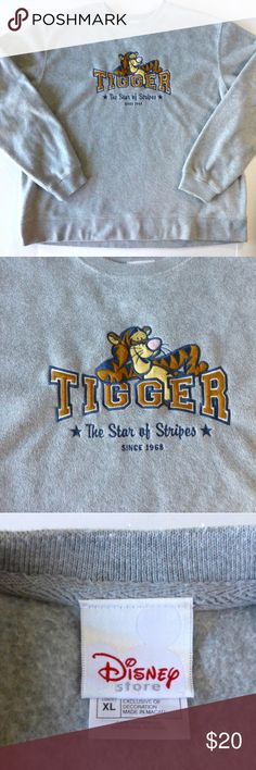 "Disney Tigger XL oversized embroidered fleece top Soft polyester pullover fleece top in gray Crew neckline Oversized fit Minor pilling Machine wash 28"" from armpit to armpit 29"" from back of neck to hem Disney Tops Sweatshirts & Hoodies"