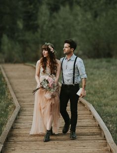 Romantic Yosemite Valley Elopement Inspiration Blush wedding dress by Needle & Thread Rustic Wedding Dresses, Elope Wedding, Wedding Groom, Wedding Suits, Wedding Attire, Boho Wedding, Dream Wedding, Wedding Dressses, Hipster Wedding
