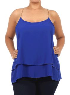 Plus Size Sheer Layered Chain Straps Blue Top, Plus Size Clothing, Club Wear, Dresses, Tops, Sexy Trendy Plus Size Women Clothes