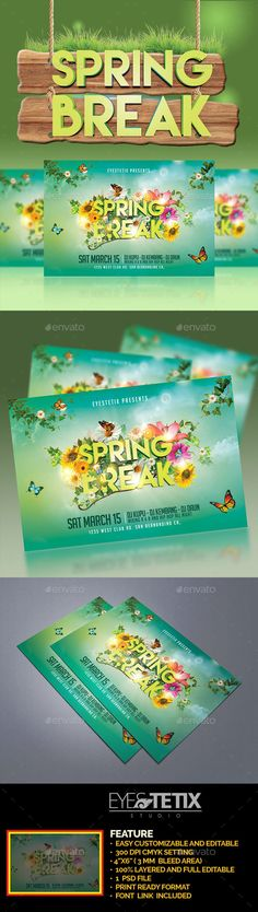 Spring Break Party Flyer — Photoshop PSD #birds #green • Available here → https://graphicriver.net/item/spring-break-party-flyer/19545515?ref=pxcr