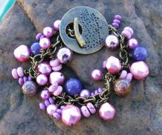 Purple Charm Bracelet by brendalou2 on Etsy, 30.00
