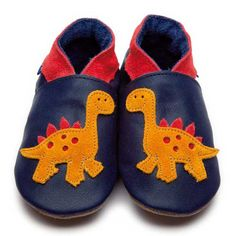 Navy Boys Shoes with Dino Motif by Inch Blue  £17