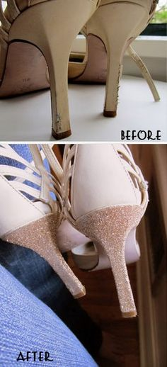 Hide all those nasty scruffs and scratches on your high heels by applying a simple glitter polish! Thicker polishes will only need one application. You can prefer to go subtle or choose a wild color which is great for sparkly, glitzy parties!