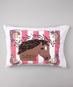 Another great find on #zulily! Pink Stripe Horse Personalized Standard Pillowcase by Bunnies and Bows #zulilyfinds