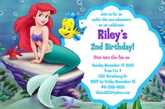 Little Mermaid Free Invitation Template More Invitations Baby Shower Birthday Party