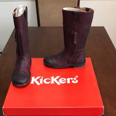 6f9988c4dfae20 Kickers Shoes | Kickers Leather Boots Size 11 Little Girl | Color: Brown/Red  | Size: 11g