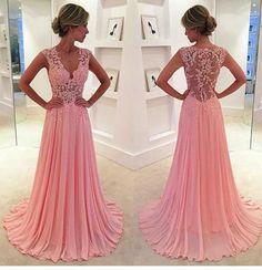Charming Prom Dress,Appliques Prom Dress V-Neck Prom Dress