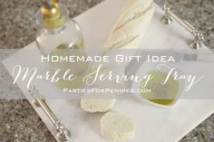 Homemade Gift Idea - Marble Serving Tray | PartiesforPennies.com | #homemade #gift #present #Christmas #hostessgift #marbletray #diy