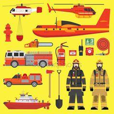 Cuerpo de bomberos equipo infografía conjunto — Vector de stock