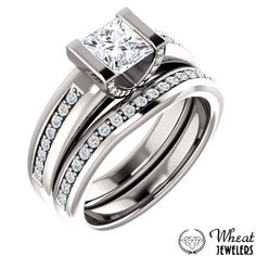 Half Bezel Princess Cut Engagement Ring with Accent Diamonds and Matching Diamond Wedding Band available at Wheat Jewelers #engagementring #weddingband