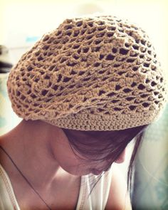 crochet beret. I could never pull this off. But I would love to make this for someone!!