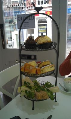Afternoon Tea at the Cherry Blossom Bakery, Macclesfield, England! 10 of your English Pounds per person and no more! Blooming lovely.