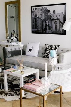 Lauryn's 'Glam Meets Bohemian' San Diego Home — House Tour - i've seen that chair, love the mix of warm bronze and cool silver, very sophisticate