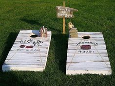 This couple definitely gets an award for most creative #guestbook with their custom cornhole boards.