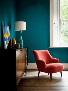 teal blue room with red chair, teal green, teal, jade, pantone shaded spruce