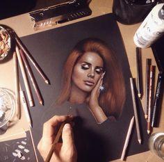 Lana Del Rey Elizabeth Grant artwork art portrait coloured pencil prismacolor