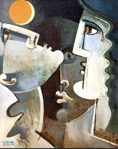 "Geoffrey Key 'Three Heads with Moon' 1995 20"" x 16"" Oil on Canvas in Private Collection"