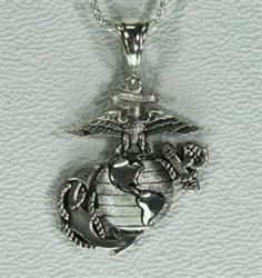 Usmc ega necklace 1 sterling marine corps marines and usmc solid sterling silver 1 14 eagle globe and anchor pendant with 18 aloadofball Images