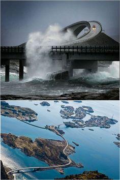 挪威的大西洋公路  蜿蜒崎嶇的道路和沿途的自然美景,這些將大西洋之路被英國《衛報》評選為世界最佳公路旅行目的地之一。    大西洋海濱公路,建造在挪威阿爾法羅密歐,此公路亦稱「大西洋之路」,獨特的建築特點,使它被不少人稱為真正的通天之路。    大西洋海濱公路由8座小橋組成,每座橋又經過一個小島。這條公路設計獨特,經過了各個小島上的自然景觀,馬赫馬薩尼在談到這一點時說:「這是一條頗具匠心的公路,為欣賞道路兩側美景提供了機會。」這條路又名64號公路,被挪威人評為「世紀建築」。    從克里斯蒂安松小鎮出發,沿著大西洋公路(Atlanterhavsveien)只需30分鍾車程即可穿越大西洋隧道。駛出隧道,您就會路過迷人的阿沃爾群島,島上建有克韋爾內斯木板教堂(Kvernes Stavkirke),群島西側的自然風光尤其美麗,群島壯觀的海岸線一直延伸到胡斯達維卡。    大西洋之路於1989年開通,目前免費開放。
