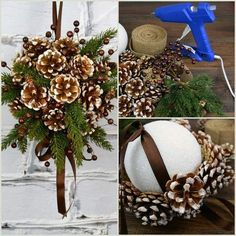 Kissing ball made with ribbons and pine cones - paper b .- Kissing Ball mit Bändern und Tannenzapfen gemacht – Papier basteln – # … Kissing Ball made with Ribbons and Pine Cones – Paper Craft – # … # Ribbons # Made - Gold Christmas, Rustic Christmas, Christmas Wreaths, Christmas Ornaments, Pinecone Christmas Crafts, Christmas Pine Cones, Christmas Christmas, Pine Cone Crafts, Christmas Projects