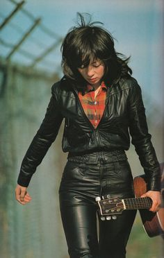 French New Wave, Guitar Girl, Dapper Men, Female Poses, Naomi Campbell, Messy Hairstyles, Plunging Neckline, Distressed Denim, Leather And Lace
