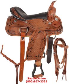 You are looking at a saddle that rides as good as it looks. Some of the special features are a cow softy seat, hand carved Texas star conchos, soft fleece underside, hand tooled leather and blevins buckles. The in skirt rigging keeps you connected with your horse for smooth riding.     This will be a great saddle for pleasure trail ridding or in the reining arena. Saddle comes complete with headstall, reins and breast collar.  Was $449.99. NOW ONLY $374.99!!!