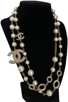 5a67309a5cfc4 Chanel CHANEL Pearl Crystal CC Long Necklace Gold   My Selling ...