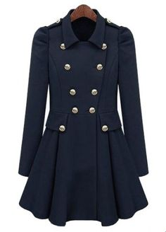Navy Pleated Long Sleeve Buttons Ruffles Coat pictures