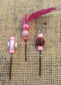 Pink Sports Beaded Push Pin Set by GrlFridayProductions on Etsy, $5.00